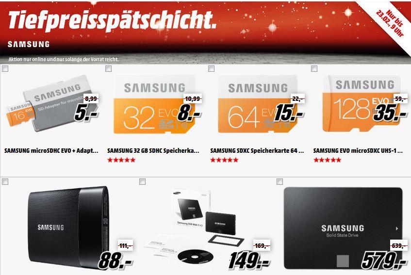 Samsung EVO microSDHC 16GB für 5€   in der Samsung Speicher und SSD Aktion