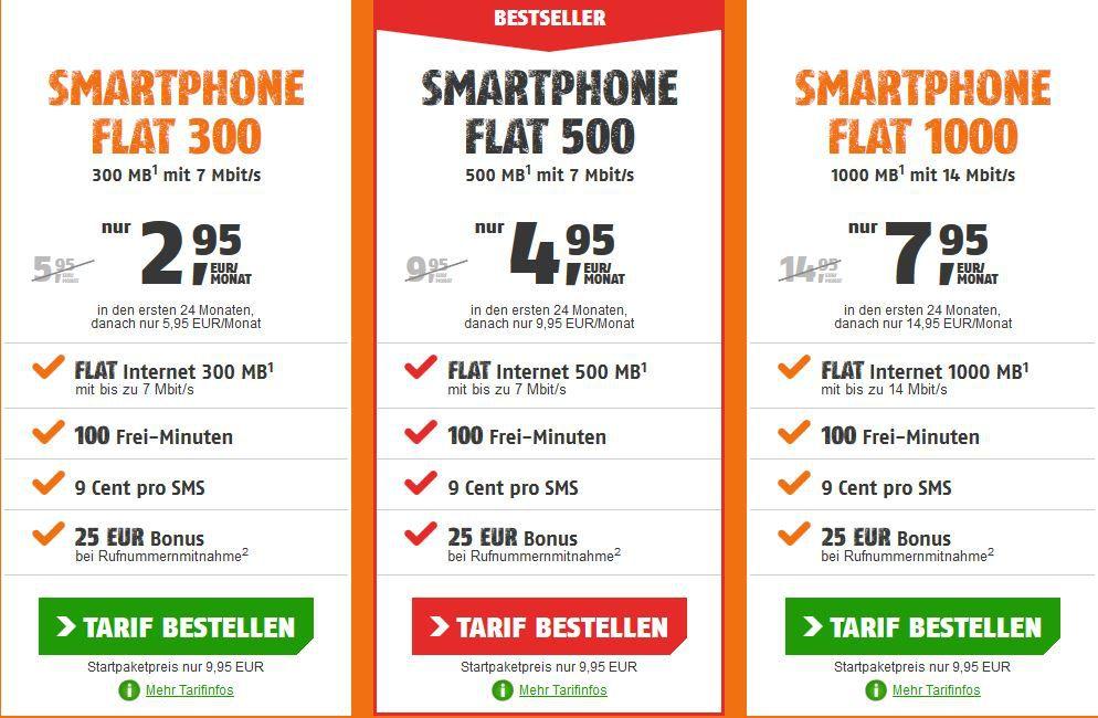100Min. im Telekom Netz + 300MB Daten für 2,95€ oder mit 1GB Daten für 7,95€mtl.
