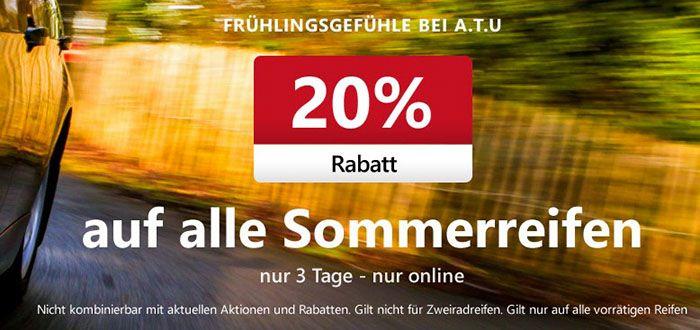 Sommerreifen Nur dieses Wochenende: 20% Rabatt auf alle Sommerreifen + 5€ Gutschein bei ATU