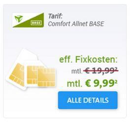 BASE Comfort Allnet + 500MB Daten Flat   SIM only für 9,99€ mtl.