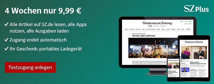 4 Wochen Süddeutsche Zeitung Digital + gratis Powerbank für 9,99€