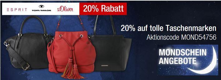 TomTailor Taschen Sale 20% Rabatt auf ausgewählte reduzierte Taschen bei den Galeria Kaufhof Mondschein Angeboten