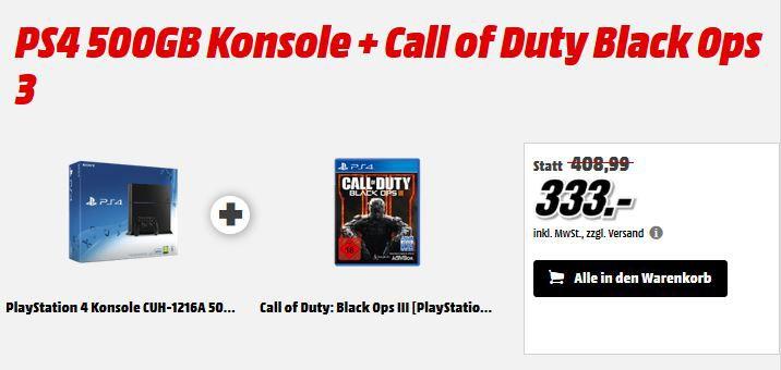 Playstation 4 500 GB +Call of Duty: Black Ops III ab 333€