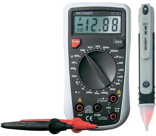 VOLTCRAFT VC130 1   Digital Multimeter inkl. berührungslosem Spannungsprüfer für 19,99€