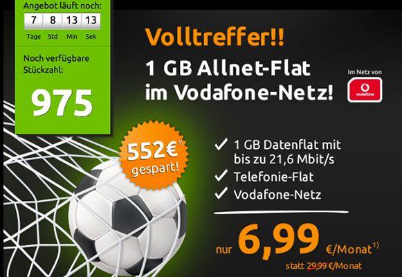 Vodafone Allnet Flat2 Vodafone Allnet Flat mit 1GB für 6,99€ mtl.