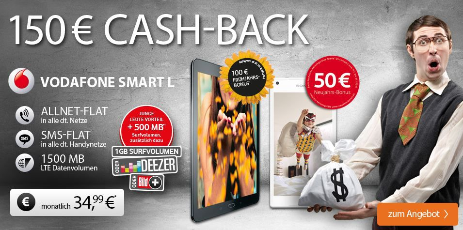 Vodafone L Sony Xperia Z5 Compact + Samsung Tab S2 9.7 + Vodafon All Net + SMS Flat + 1GB Daten für effektiv 39,49€ mtl.