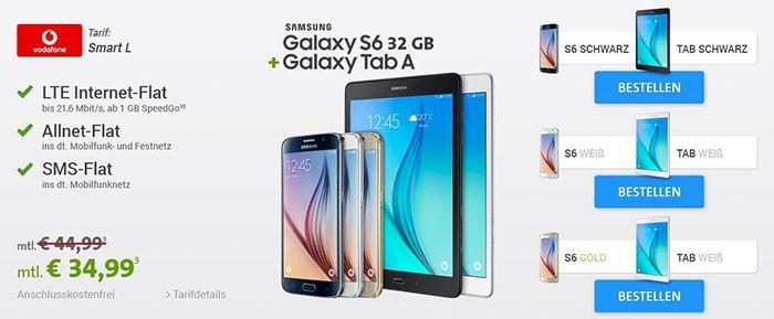 Vodafone Smart L Vodafone Smart L + Galaxy S6 + Galaxy Tab A für 34,99€ mtl.