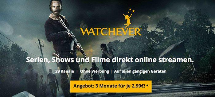 6 Monate Watchever für 24,99 € (bis zu 66 % Rabatt) oder 3 Monate für nur 8,97€