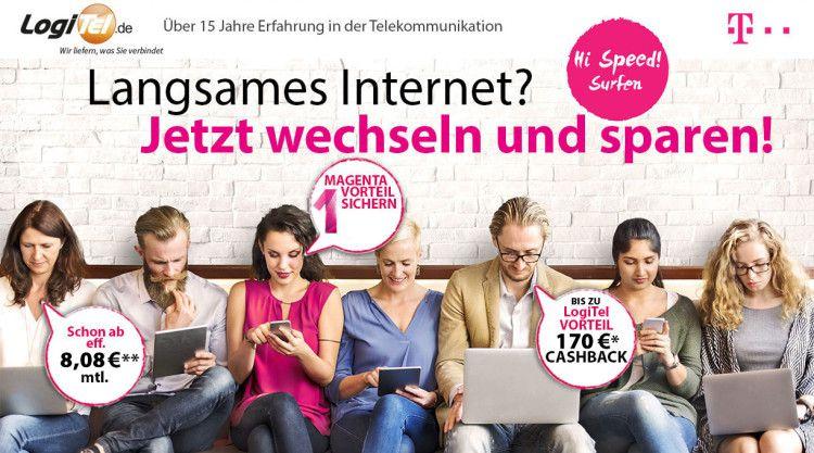 Telekom DSL Tarife + Festnetz Flat ab 8€ mtl. (dank bis zu 170€ Cashback)