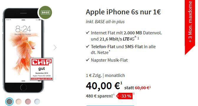 iPhone 6s mit 16GB + AllNet + SMS + 2GB LTE Daten Flat für nur 40€ mtl.