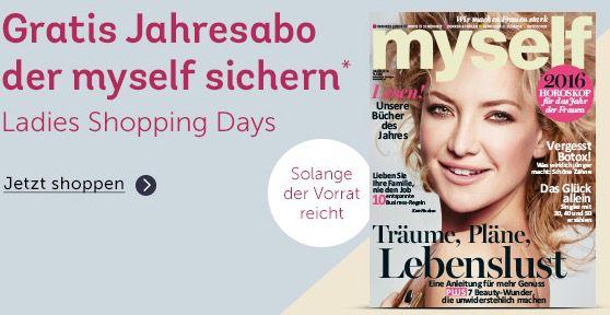 Gratis myself Jahresabo (Wert 42€) für jede Bestellung ab 30€ bei mirapodo