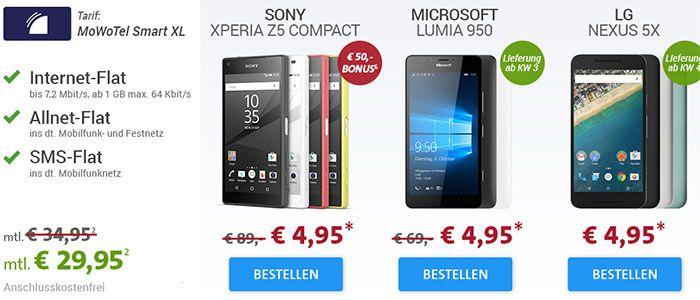 mowotel MoWoTel (Vodafone Netz) Allnet + 1GB inkl. Samsung S6 32GB, Xperia Z5, Lumia 950, Nexus 5X 32GB ... 29,95€/Monat