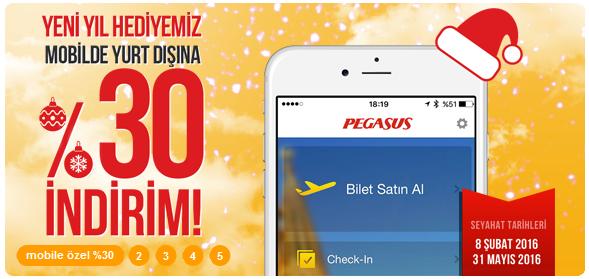 pegasus airlines 30% Rabatt auf Flüge via Pegasus Airlines bei Buchung per App