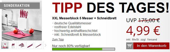 Renberg XXL Messerblock mit 5 Messern + Schneidebrett für 4,99€ inkl. Gratisartikel