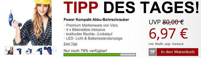 varo Bohrschrauber varo Kompakt Akku Bohrschrauber + Gratis Artikel für 12,94€