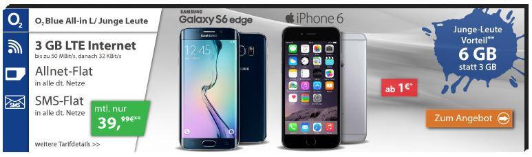 Apple iPhone 6s 16GB + O² Allnet + SMS Falt + 3GB Daten für 39,99€ mtl.