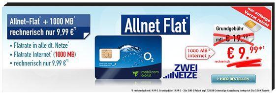 Allnet Flat O² Allnet Flat + 1 GB Datenflat + 250 SMS effektiv nur 9,99€ mtl.