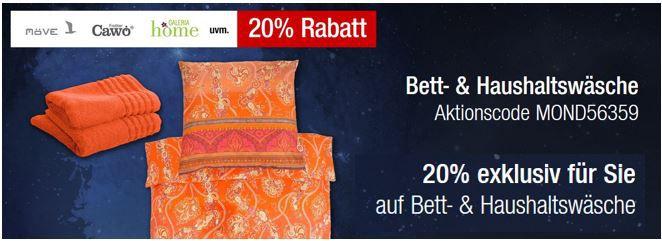 Bettwäsche Angebot 20% Rabatt auf die gesamte Bett  und Haushaltswäsche + Hilfiger, Boss und mehr Galeria Kaufhof Mondschein Angebote