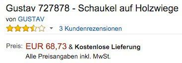 Gustav Schaukel auf Holzwiege für 68,73€ (statt 109€)