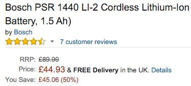 Bosch PSR 1440 LI 2 Akku Schrauber (14,4 V, 1,5 Ah) für 64€ (statt 141€)