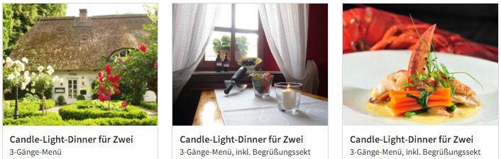 20€ mydays Gutschein ab 69€   z.B. 2 Personen Candle Light Dinner für 69€
