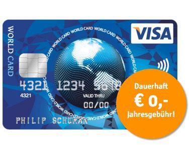 Visa World Card Kreditkarte ohne Gebühr (EU weit) + Wunsch PIN   TIPP!