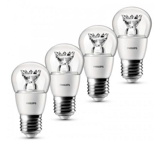 4er Pack Philips LED Tropfenlampe (E27, 3W, 250lm) für 12,95€ inkl. VSK