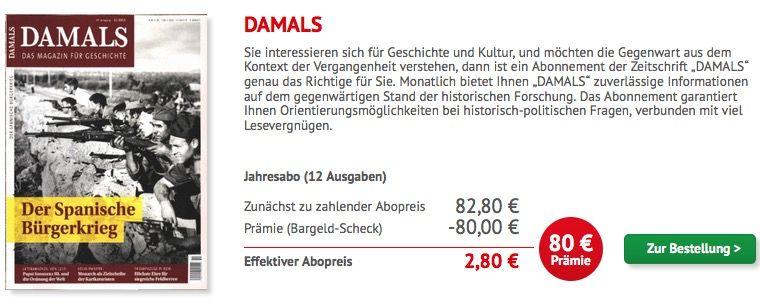 Bildschirmfoto 2016 06 15 um 16.18.18 DAMALS Jahresabo nur 2,80€ statt 82,80€!   HOT!
