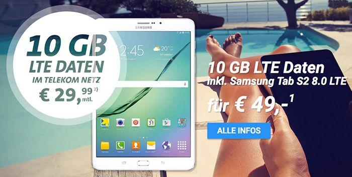 Knaller! Samsung Galaxy Tab S2 8.0 für 49€ (statt 375€) + 100€ Cashback + 10GB Telekom LTE für 29,99€ mtl.