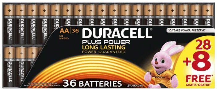 36er Pack Duracell Plus Power AA Batterien für 19,99€ (statt 36€)