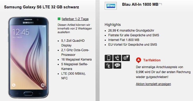 Blau Allnet Flat Galaxy S6 32GB + Blau Allnet Flat + 1,8GB für 26,99€ mtl.