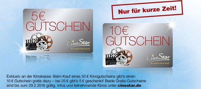 CineStar Cinestar Gutschein kaufen und 20% oben drauf bekommen