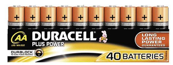 40er Pack Duracell Plus PowerAA Batterien für 17,99€ (statt 23€)