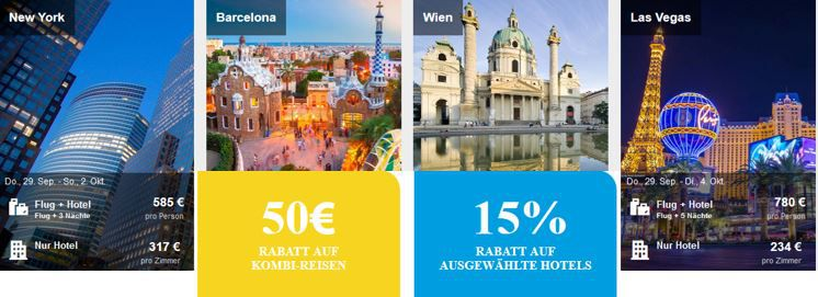 ebookers mit 15% Rabatt auf ausgewählte Hotels oder 50€   100€ auf Kombi Reisen bis Mitternacht
