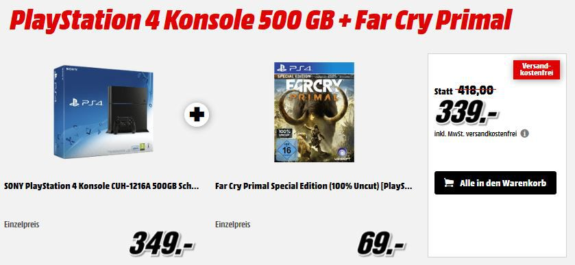 Far Cry Primel PlayStation 4 Konsole 500 GB + Far Cry Primal für 339€