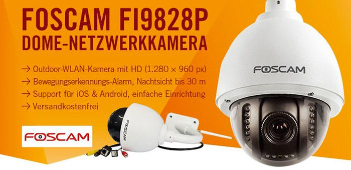 Foscam FI9828P Wireless Netzwerkkamera für 139,90€ (statt 155€)