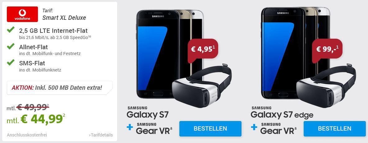 Galaxy S7 Samsung Galaxy S7 und S7 edge vorbestellen + Samsung Gear VR Brille GRATIS dazu 44,99€ mtl.