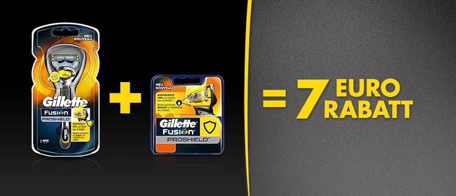 Gillette Pro Aktion Gillette Fusion ProShield   Herren Rasierer + Klingen mit 7€ Rabatt ab 24€ MBW