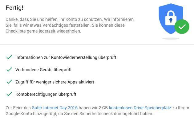 2GB Google Drive Speicherplatz gratis für kurzen Check
