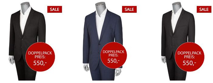 Hugo Boss Anzüge im Doppelpack für 540€   Hugo Boss Hemden Doppelpack für 90€   Top!