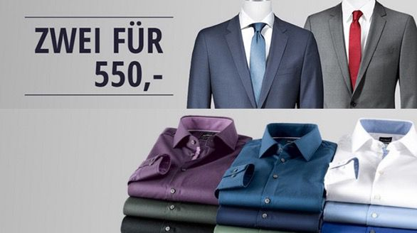 Hirmer Hugo Boss Anzüge im Doppelpack für 540€   Hugo Boss Hemden Doppelpack für 90€   Top!