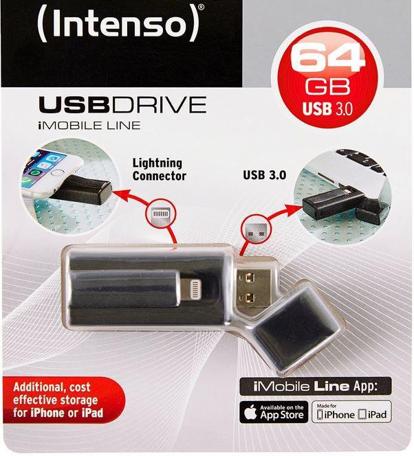 Intenso USB Intenso iMobile Line   64GB USB & Lightning Stick für 44,90€