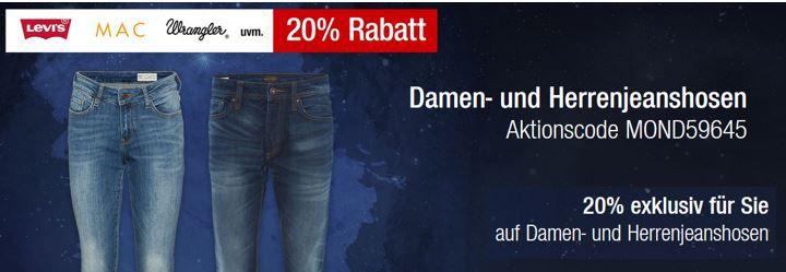 20% Rabatt auf alle Damen  und Herrenjeanshosen bei den Galeria Kaufhof Mondschein Angeboten