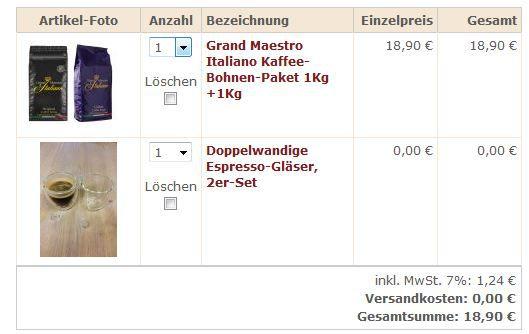 Grand Maestro Italiano Kaffee Bohnen + 2 Espressogläser für 18,90€
