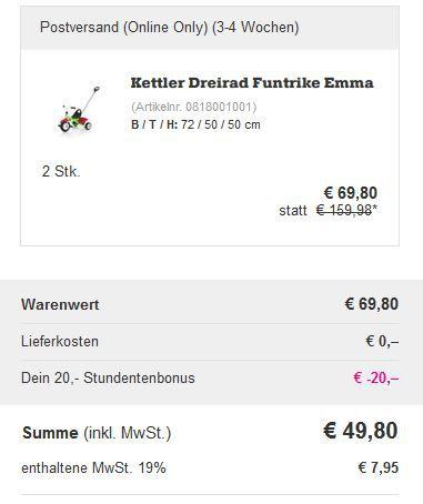 Kettler Warenkorb KETTLER Funtrike Emma statt 48€ für 34,90€ oder 2 Stück für 49,80   Top