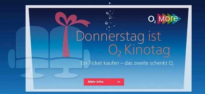Kinotag o2 & BASE Kinotag   jeden Donnerstag 2 Tickets zum Preis von Einem