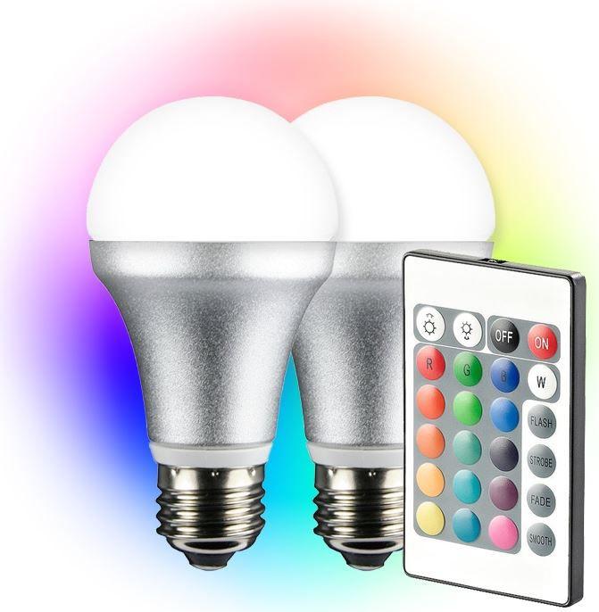 LED RGB Lampe TECHNAXX LED RGB   Dopelpack E27 4 Watt Farb LED + Fernbedienung für 28,90€