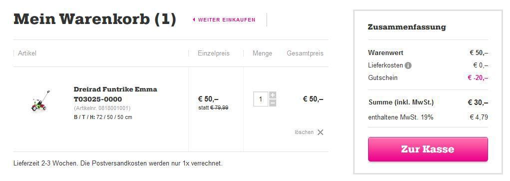 Mömax KETTLER Funtrike Emma statt 52€ für 30€ dank 20€ mömax Gutschein mit 50€ MBW