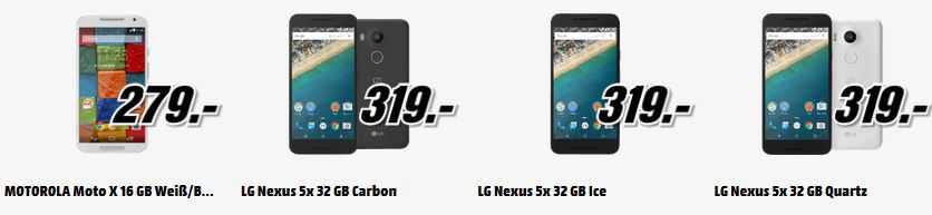 LG Nexus 5X 16GB  für 269€   Top Media Markt Smartphone Aktion