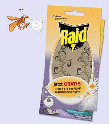 Gratis Raid Mottenschutz Papier als Probe